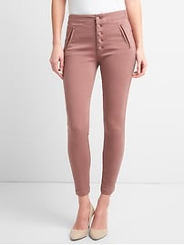 Signature Skinny Ankle Pants with Exposed Button-Fly