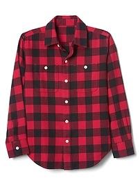 Buffalo plaid flannel long sleeve shirt