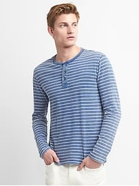 Long Sleeve Stripe Henley