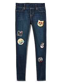 Mid Rise Favorite Jeggings with Emoji Patch in Stretch