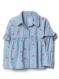 Floral Denim Ruffle Shirt