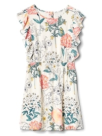 Floral Cascade Ruffle Dress