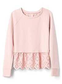 Eyelet Pullover Sweatshirt in French Terry