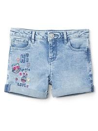 "4"" Embroidery Midi Shorts with Fantastiflex"