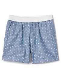 """3.5"""" Print Chambray Shorts"""