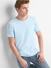 T-shirt ras du cou à poche de coton en fil flammé