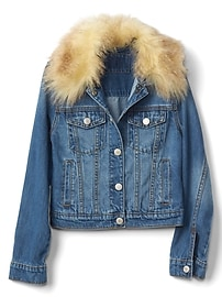 Faux-fur collar denim jacket