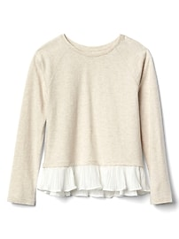 Mix-fabric peplum pullover