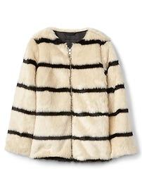 Stripe faux-fur jacket