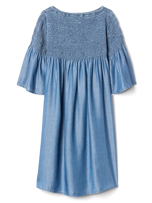 Smocked Bell Sleeve Dress In Chambray by Gap