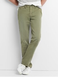 Washwell Vintage Wash Khakis in Slim Fit with GapFlex