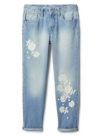 Floral Detail Girlfriend Jeans