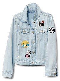Veste en denim avec appliqué d'Emoji