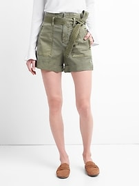 "High Rise 4"" Utility Shorts with Tie-Belt"