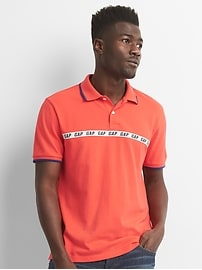 Logo Sports Tape Pique Polo Shirt in Stretch