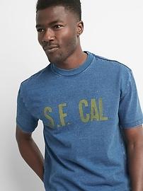T-shirt ras du cou à manches courtes avec logo indigo
