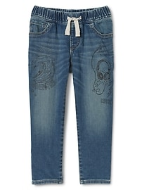 Superdenim Pull-On Graffiti Slim Jeans with Fantastiflex