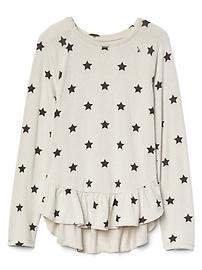 T-shirt froncé en tricot au fini soyeux à motif d'étoiles