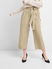 Tie-Waist Crop Wide-Leg Pants