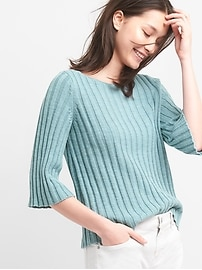 Fluted Sleeve Pullover Sweater