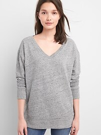 V-Neck Pullover Tunic Sweatshirt