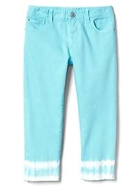 Stretch tie-dye straight crop jeans