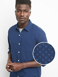 Double-Layer Standard Fit Shirt with Stretch