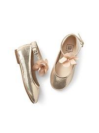 Floral Metallic Ballet Flats