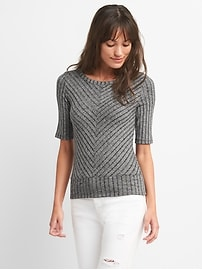 Short Sleeve Rib-Mix V-Neck Top