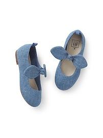 Chambray Tie Ballet Flats