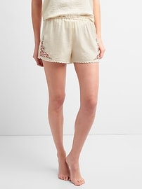 Dreamwell Embroidered Shorts in Satin