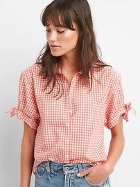 Chemise à carreaux vichy à manches courtes avec attaches en popeline
