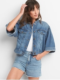 Icon Cropped Bell-Sleeve Denim Jacket