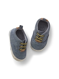 Chambray Lace-Up Sneakers