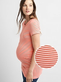 T-shirt de maternité PureBody ras du cou rayé à manches courtes