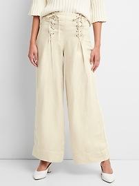 Pantalon à jambe large à taille haute en lin avec lacets décoratifs