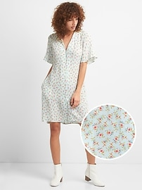 Floral Button-Front Swing Dress