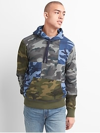 Camo Patchwork Pullover Hoodie