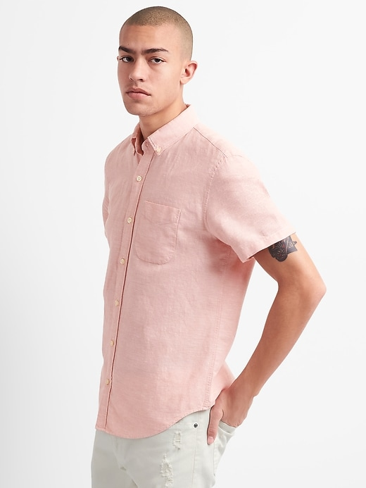 Standard Fit Short Sleeve Shirt In Linen Cotton by Gap