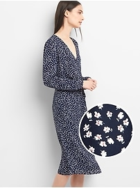 Long Sleeve Floral Print Midi Dress