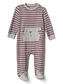 Stripe Bear Footed One-Piece