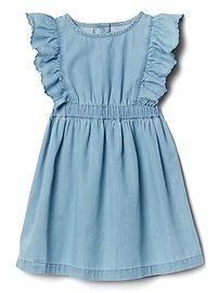 Cascading Ruffle Denim Dress