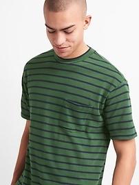 Heavyweight Stripe Crewneck Pocket T-Shirt
