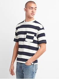 Heavyweight Crewneck Pocket T-Shirt in Rugby Stripe