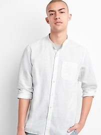 Standard Fit Band Collar Shirt in Linen-Cotton