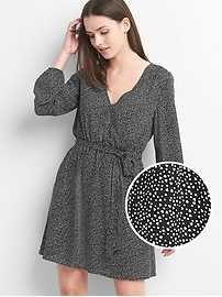 Print long sleeve wrap dress