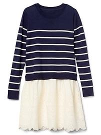 Mix-Fabric Eyelet Sweater Dress
