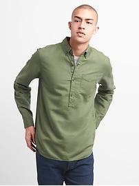 Standard Fit Half-Button Shirt in Linen-Cotton