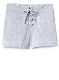 "3.5"" Pinstripe Lace-Up Shorts"