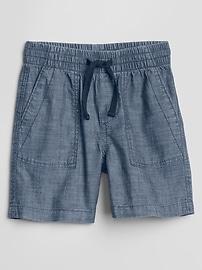 "4"" Pull-On Chambray Shorts"